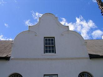 Dutch gable - Cape Dutch gable on a house in Stellenbosch, South Africa