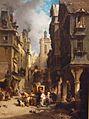 Morlaix Une rue en 1830 Jules Noël, tableau de 1870.JPG