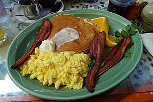Scrambled eggs - Scrambled eggs with bacon and pancakes