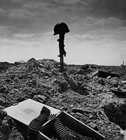 Temporary grave of an American machine-gunner during the Battle of Normandy.