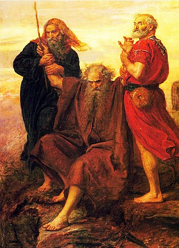 English: Moses, supported by Aaron and Hur, is...