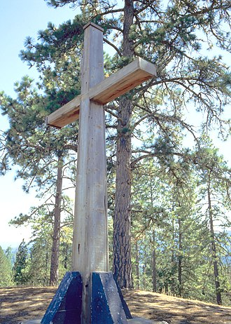 Mount Hermon, California - Cross on the summit of Mount Hermon