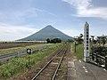 Mount Kaimondake from platform of Nishi-Oyama Station 2.jpg