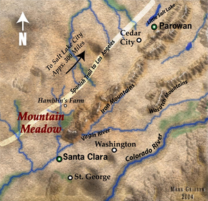 Conspiracy and siege of the Mountain Meadows massacre - Mountain Meadows and surrounding region in 1857, showing path of Old Spanish Trail