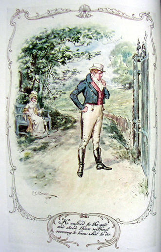 Mansfield Park - Perplexed Mr Rushworth contemplating the locked gate at the Sotherton ha-ha.