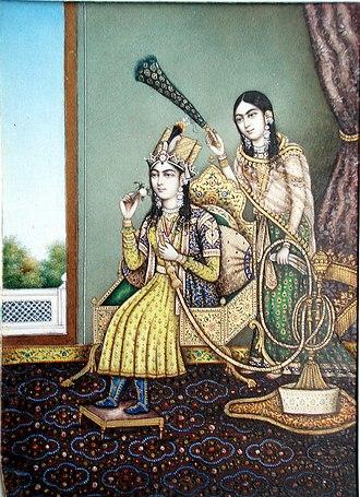 Mumtaz Mahal - Mumtaz Mahal with an attendant.
