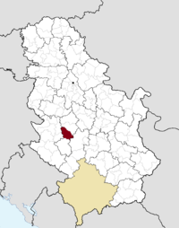 Location of the municipality of Lučani within Serbia