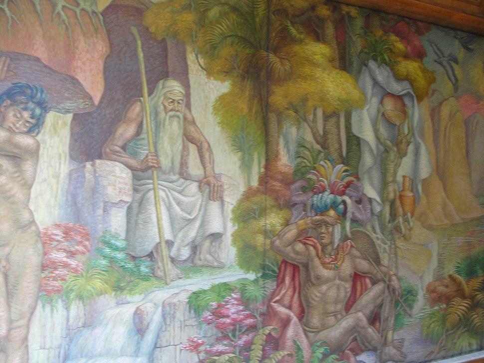 """Mural titulado """"Teogonía de los Dioses Chibchas"""" del maestro Luis Alberto Acuña, ubicado en el Hotel Tequendama"""