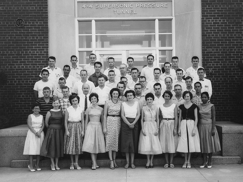File:NASA human computers - Mary Jackson on far right - Pressure Tunnel staff taken in 1950s.jpg