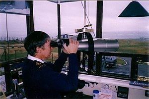 NCI Portland Bill - A watchkeeper inside the lookout station in 2003, before it was rebuilt.