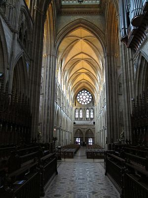Truro Cathedral - Looking west from the choir, towards the nave and the west rose window
