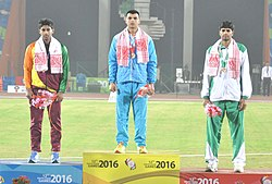 Neeraj Chopra (INDIA) won Gold Medal, D.S. Ranasinghe (SRI LANKA) won Silver Medal and Arshad Nadeem (PAKISTAN) in Javelin Throw, at the 12th South Asian Games-2016, in Guwahati on February 10, 2016.jpg