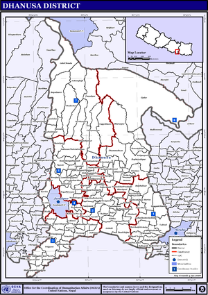 Dhanusa District - Map of the VDCs in Dhanusa District