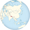 Nepal on the globe (Asia centered).svg