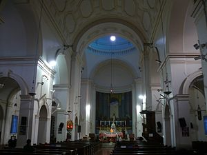 Sacred Heart Cathedral, New Delhi - Interior towards the main altar and fresco depicting the last supper