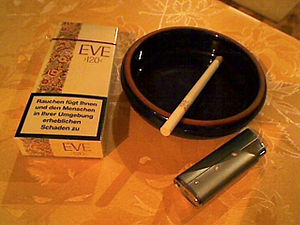 Eve (cigarette) - Pack of German Eve 120s, with the new health warning label mandated by the European Union.