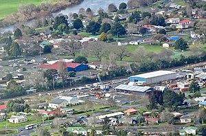 Ngaruawahia Railway Station - Station site viewed from Hakarimata Range in 2017