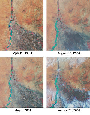 Geography of Sudan - Annual fluctuations in the Nile River and surrounding agriculture.