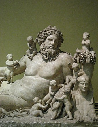 Personification of the River Nile and his children, from the Temple of Serapis and Isis in Rome (1st century AD) Nile river02 pushkin.jpg
