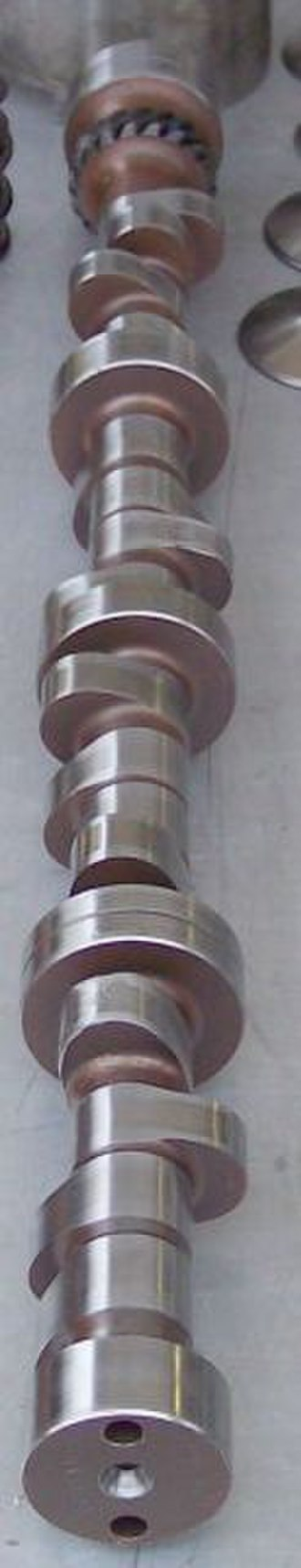 Camshaft - A steel billet racing camshaft with noticeably broad lobes (very long duration)