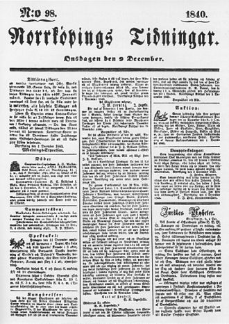 1840 in Sweden - Norrköpings Tidningar in 1840