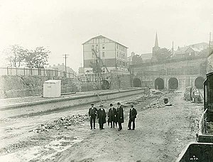 North Sydney railway station - View of the entrances to the tunnels at the Waverton end, photographed in 1931.
