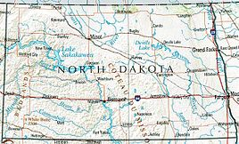 Geographische Koartn vo North Dakota