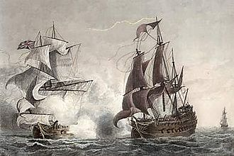HMS Northumberland (1705) - Image: Northumberland 1724 Garneray 5106