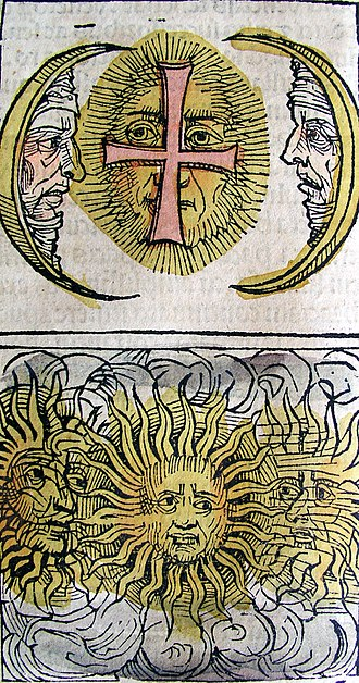 Sun dog - Sun dog phenomenon depicted in the Nuremberg Chronicle