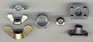 Nut (hardware) - Left to right: Wing, hex, hex flange, and slab weld nuts.