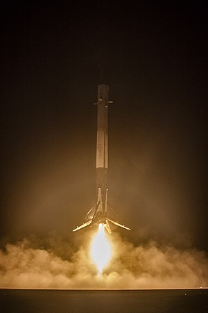 Falcon 9 flight 20 - First stage of Falcon 9 flight 20 landing on a ground pad in December 2015