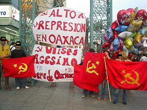 Manifestación contra la represión en Oaxaca.