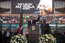 us president barack obama delivers his speech at mandelas state memorial service - Nelson Mandela Lebenslauf Kurz