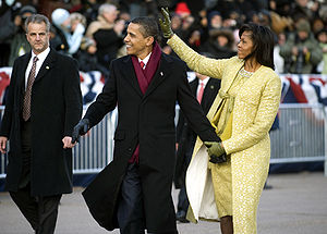 St. Gallen embroidery - First Lady Michelle Obama wearing St. Gallen Embroidery during the inauguration ceremony of her husband.