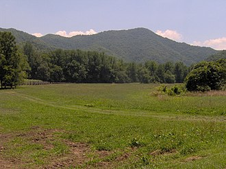 Oconaluftee (Great Smoky Mountains) - The Oconaluftee bottomlands, with Rattlesnake Mountain rising in the distance.