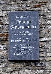 Gedenktafel für Johann Rosenmüller in seiner Geburtsstadt Oelsnitz (Quelle: Wikimedia)