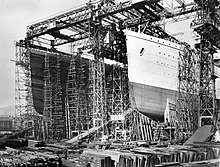 l'Olympic et le Titanic en construction