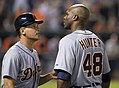 Omar Vizquel and Torii Hunter in 2014 (14151957166).jpg