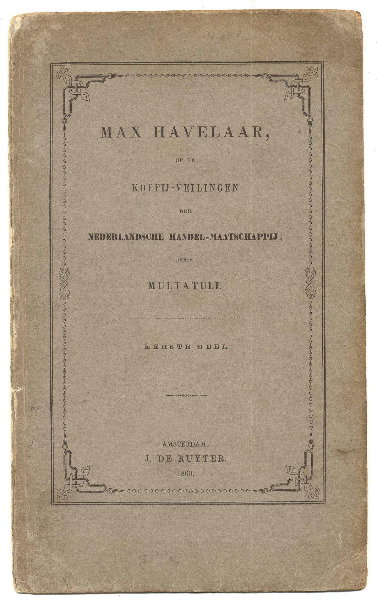 Citaten Uit Max Havelaar : Max havelaar boek wikipedia