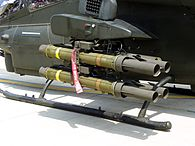 One 4-round XM65 Missile Launcher on Outboard Hardpoint of ROCA AH-1W 20110813.jpg