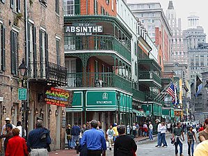 Culture of New Orleans - Bourbon Street, New Orleans, in 2003, looking towards Canal Street.