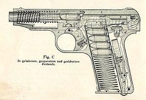 Ortgies Semi-Automatic Pistol - Ortgies cutaway diagram