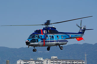 Eurocopter AS332 Super Puma - An AS332 Super Puma of the Osaka Prefectural Police, 2009.