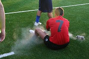 """Freeze spray - """"Magic"""" ice spray used to treat a sports injury"""