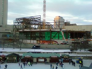 Shaw Centre (Ottawa) - View from Slater Street bridge of Convention Centre under construction. Rideau Canal in front. (Feb. 7, 2010)