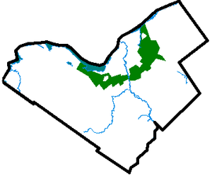 Green belt - The central core of Ottawa, located in the middle of the map, is surrounded by the Ottawa Greenbelt