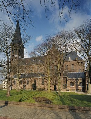 Pijnacker - View of south side of Saint John the Baptist Catholic Church on the Oostlaan