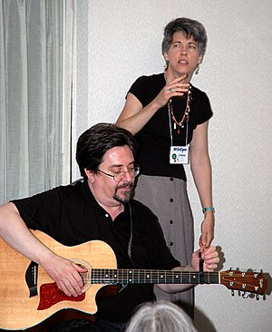 Filk music - Patrick Nielsen Hayden and Emma Bull, making music at Wiscon, 2006