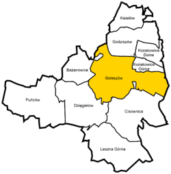 Location of Goleszów within Gmina Goleszów