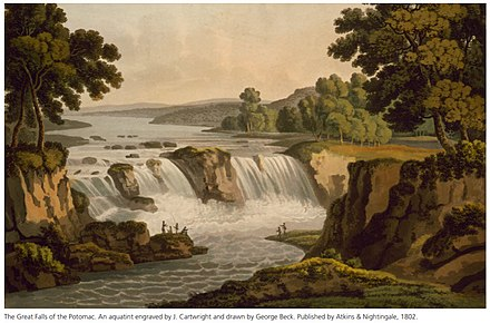 The Great Falls of the Potomac, viewed from the Virginia bank of the river (Engraving based on an aquatint drawn by George Jacob Beck in 1802) PR Great Falls of the Potomac aquatint by George Beck 1802.jpg